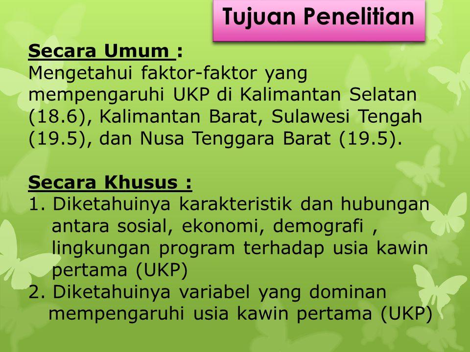 Secara Umum : Mengetahui faktor-faktor yang mempengaruhi UKP di Kalimantan Selatan (18.6), Kalimantan Barat, Sulawesi Tengah (19.5), dan Nusa Tenggara