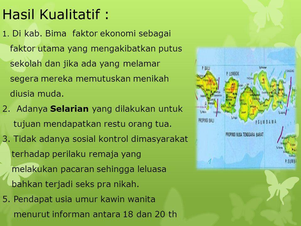 Kalimantan Barat Hasil Kualitatif : 1.di kabupaten ketapang akses sekolah dari SD sampai SMU tersedia.