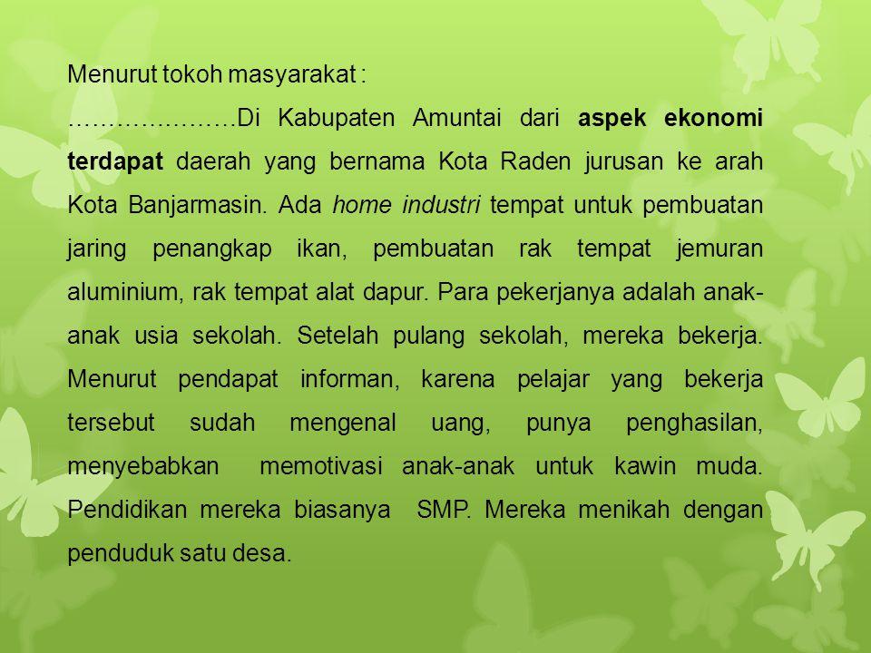 Menurut tokoh masyarakat : …………………Di Kabupaten Amuntai dari aspek ekonomi terdapat daerah yang bernama Kota Raden jurusan ke arah Kota Banjarmasin. Ad