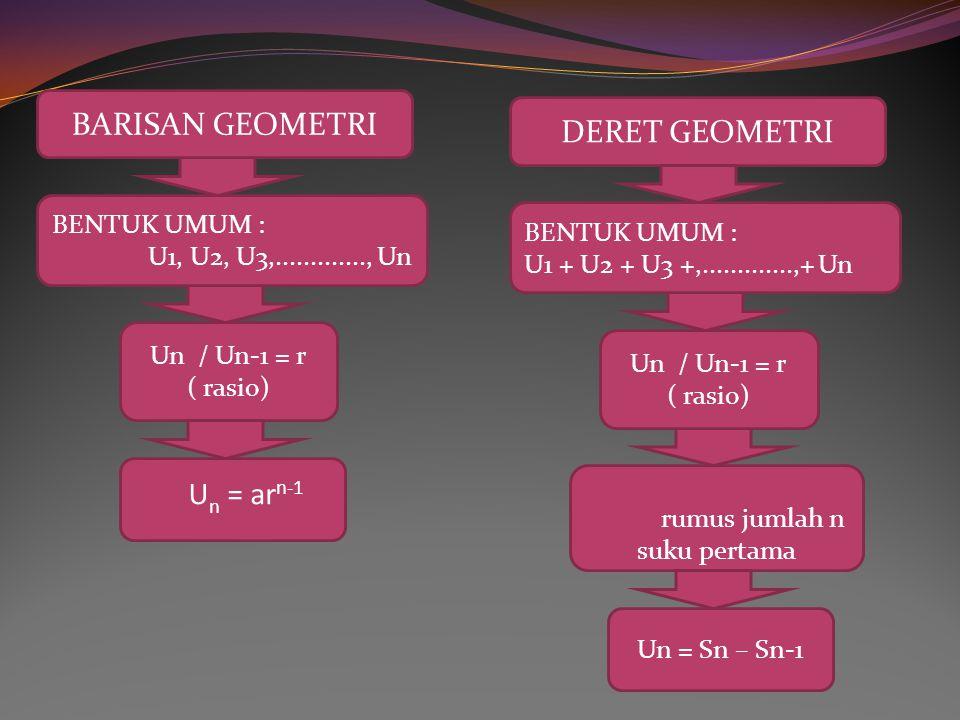 Rumus jumlah deret geometri DERET GEOMETRI TAK HINGGA BENTUK UMUM : a + ar + ar2 +..............,-1 < r < 1