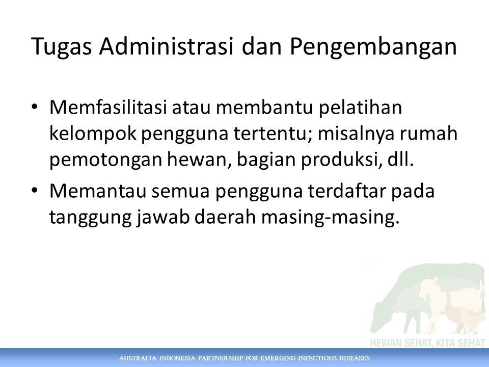 AUSTRALIA INDONESIA PARTNERSHIP FOR EMERGING INFECTIOUS DISEASES Tugas Administrasi dan Pengembangan Memfasilitasi atau membantu pelatihan kelompok pe