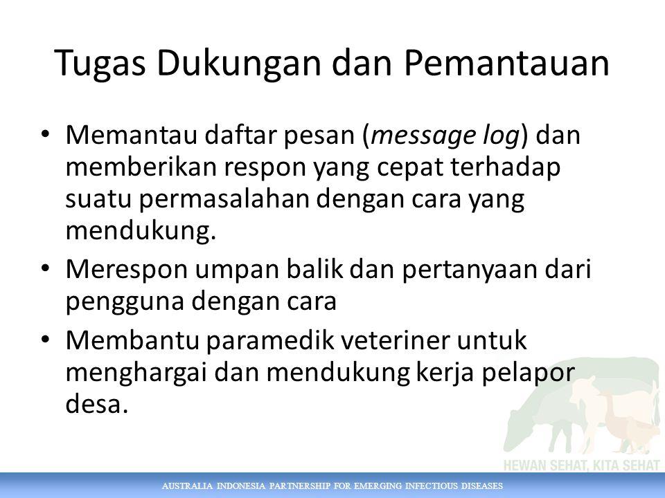 AUSTRALIA INDONESIA PARTNERSHIP FOR EMERGING INFECTIOUS DISEASES Tugas Dukungan dan Pemantauan Memantau daftar pesan (message log) dan memberikan resp