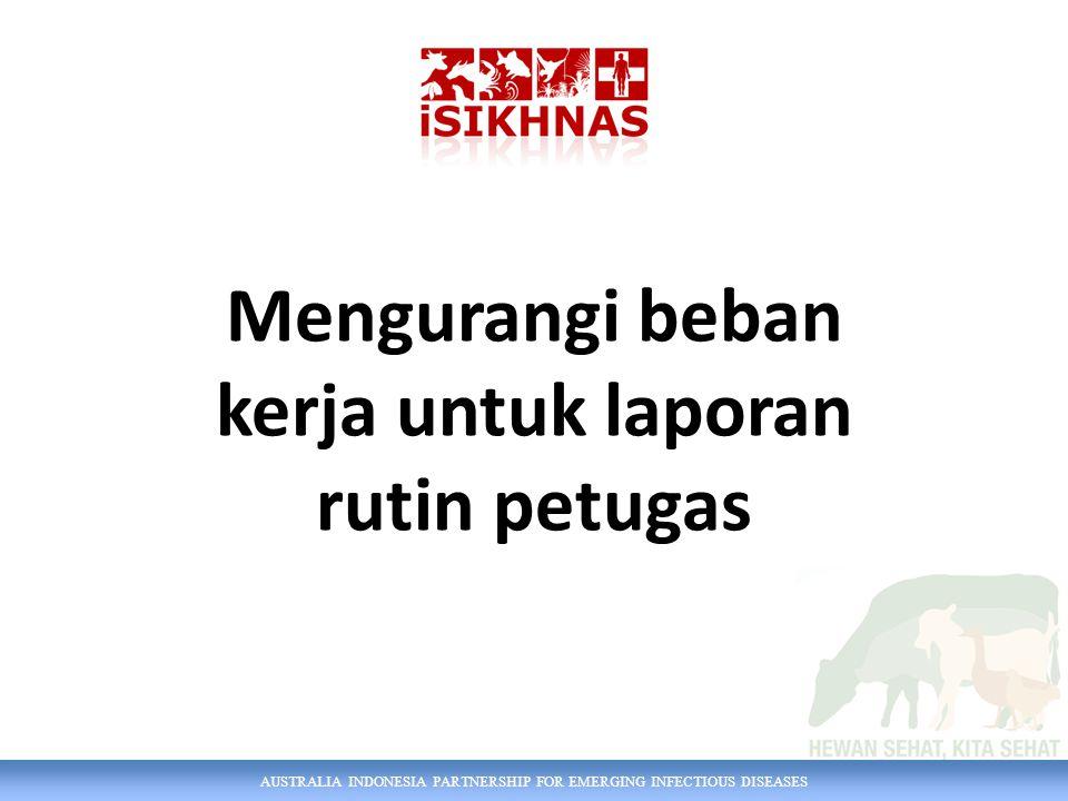 AUSTRALIA INDONESIA PARTNERSHIP FOR EMERGING INFECTIOUS DISEASES Mengurangi beban kerja untuk laporan rutin petugas