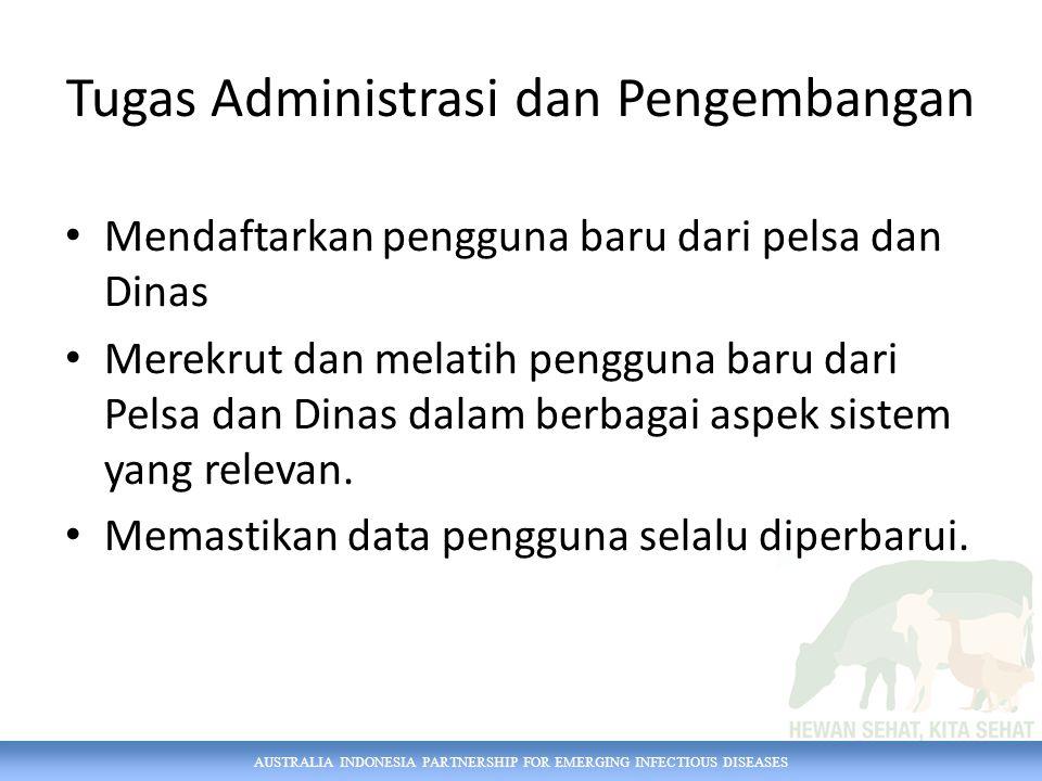 AUSTRALIA INDONESIA PARTNERSHIP FOR EMERGING INFECTIOUS DISEASES Tugas Administrasi dan Pengembangan Mendaftarkan pengguna baru dari pelsa dan Dinas M