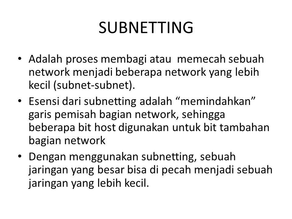 Adalah proses membagi atau memecah sebuah network menjadi beberapa network yang lebih kecil (subnet-subnet).