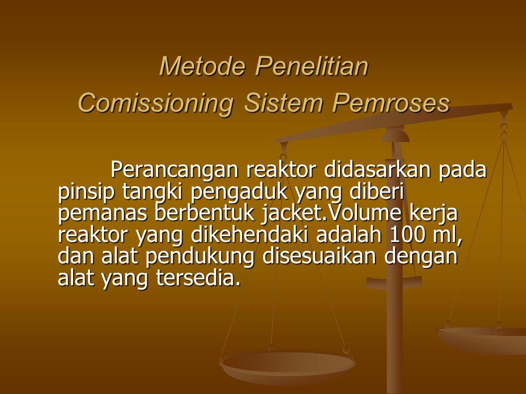Metode Penelitian Comissioning Sistem Pemroses Perancangan reaktor didasarkan pada pinsip tangki pengaduk yang diberi pemanas berbentuk jacket.Volume kerja reaktor yang dikehendaki adalah 100 ml, dan alat pendukung disesuaikan dengan alat yang tersedia.