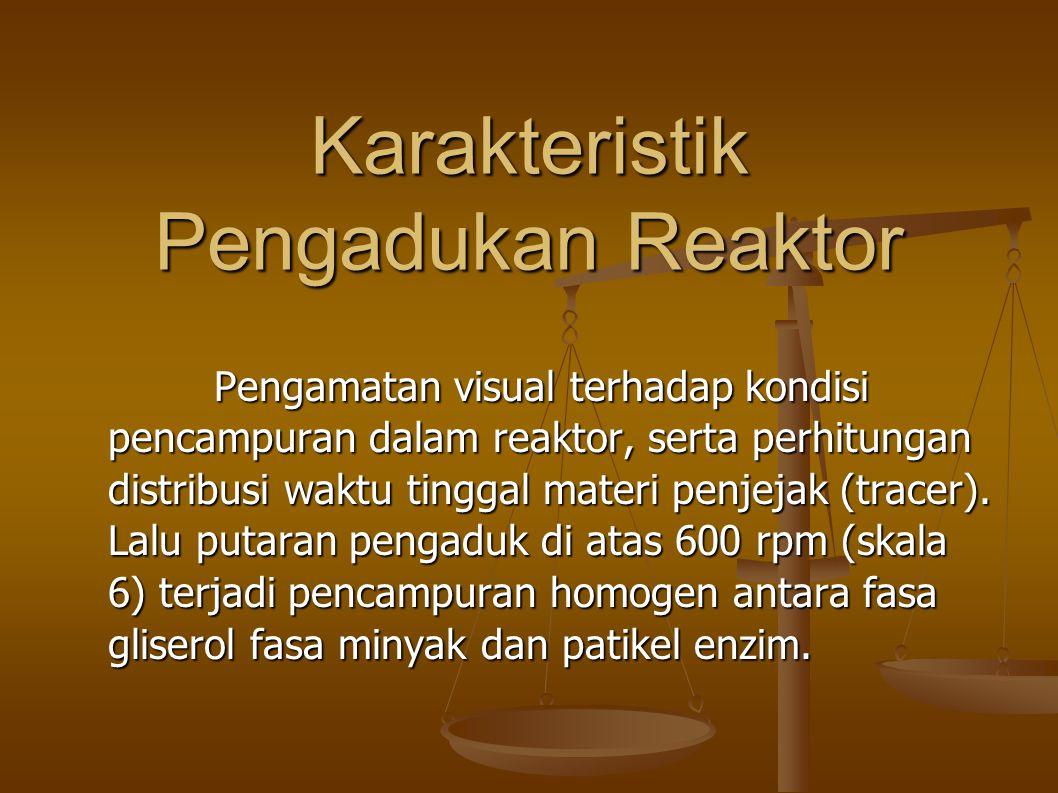 Karakteristik Pengadukan Reaktor Pengamatan visual terhadap kondisi pencampuran dalam reaktor, serta perhitungan distribusi waktu tinggal materi penjejak (tracer).