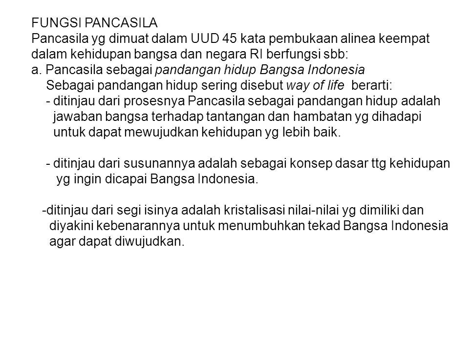 FUNGSI PANCASILA Pancasila yg dimuat dalam UUD 45 kata pembukaan alinea keempat dalam kehidupan bangsa dan negara RI berfungsi sbb: a. Pancasila sebag