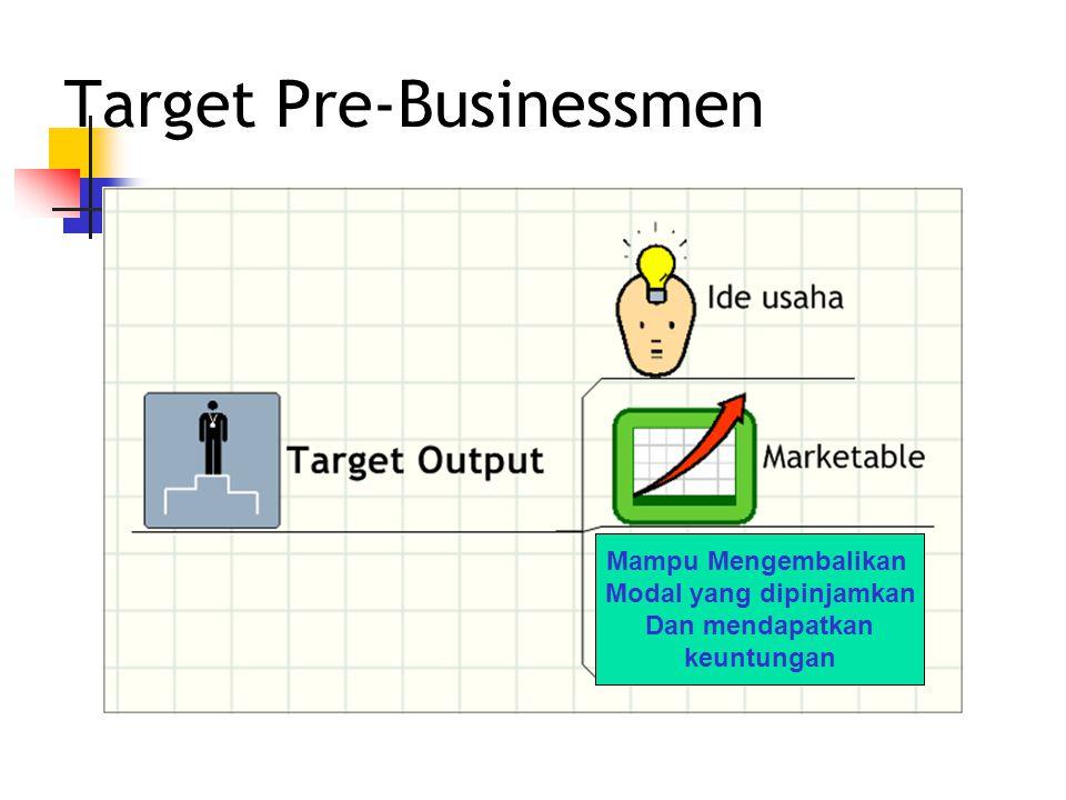 Target Pre-Businessmen Mampu Mengembalikan Modal yang dipinjamkan Dan mendapatkan keuntungan