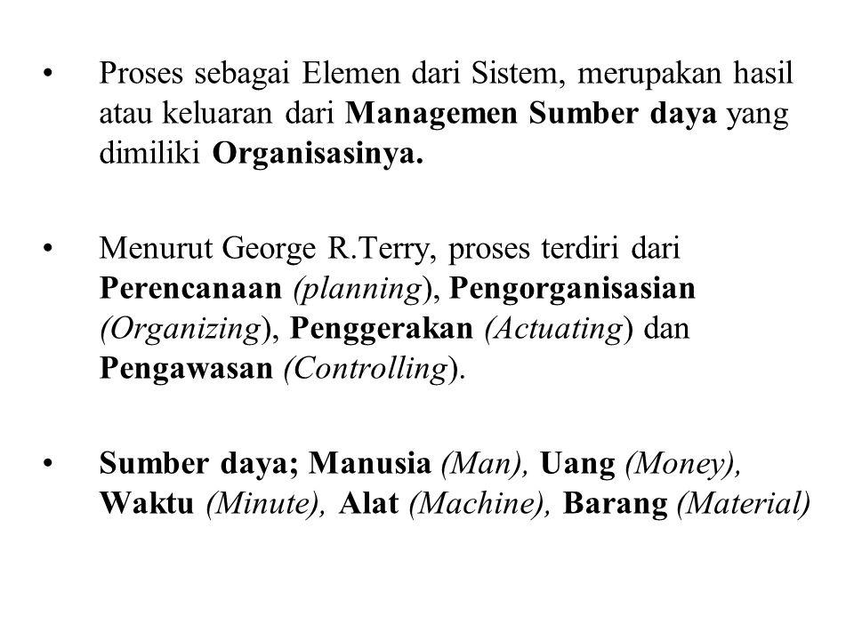 Proses sebagai Elemen dari Sistem, merupakan hasil atau keluaran dari Managemen Sumber daya yang dimiliki Organisasinya. Menurut George R.Terry, prose
