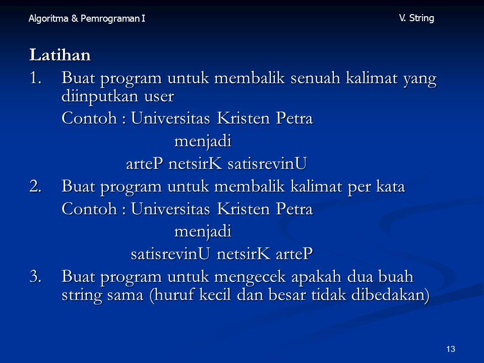 Algoritma & Pemrograman I V.