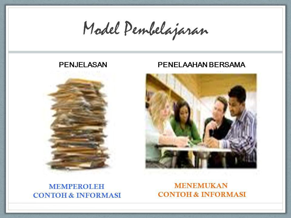 Model Pembelajaran PENJELASAN PENELAAHAN BERSAMA MEMPEROLEH CONTOH & INFORMASI MENEMUKAN CONTOH & INFORMASI