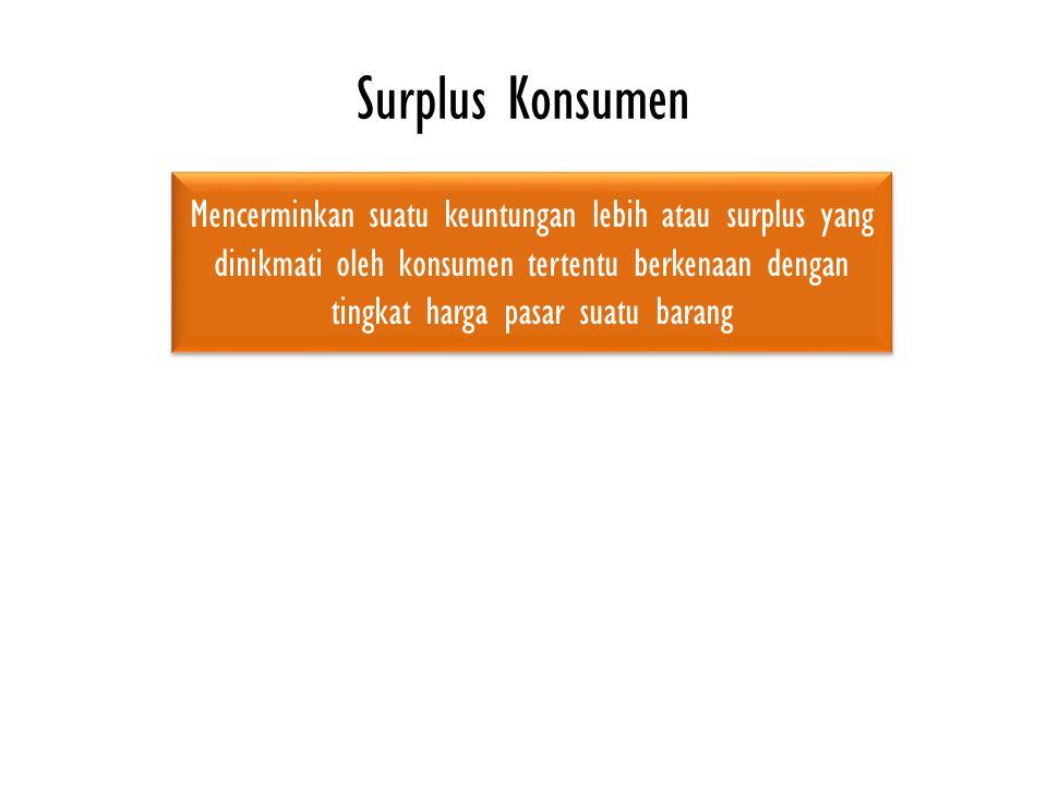 Surplus Konsumen Mencerminkan suatu keuntungan lebih atau surplus yang dinikmati oleh konsumen tertentu berkenaan dengan tingkat harga pasar suatu barang