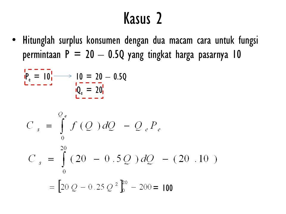 Hitunglah surplus konsumen dengan dua macam cara untuk fungsi permintaan P = 20 – 0.5Q yang tingkat harga pasarnya 10 Kasus 2 10 = 20 – 0.5QP e = 10 Q e = 20 = 100