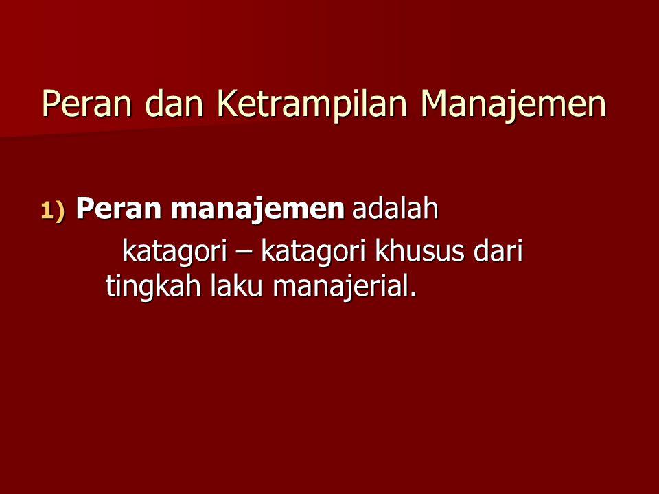 Peran dan Ketrampilan Manajemen 1) Peran manajemen adalah katagori – katagori khusus dari tingkah laku manajerial. katagori – katagori khusus dari tin