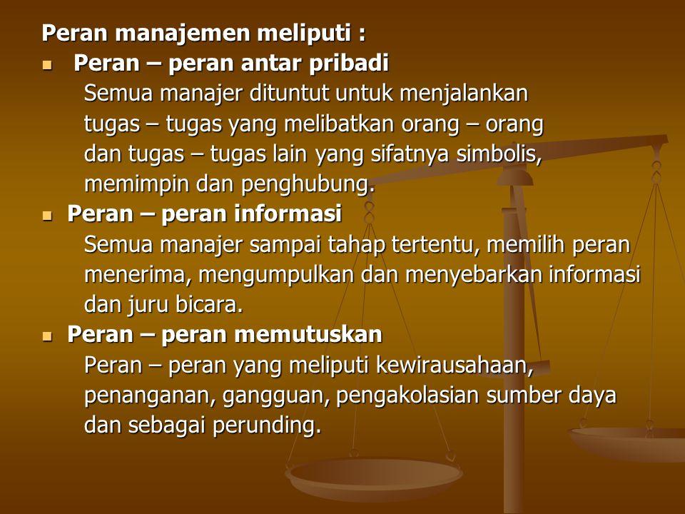 Peran manajemen meliputi : Peran – peran antar pribadi Peran – peran antar pribadi Semua manajer dituntut untuk menjalankan Semua manajer dituntut unt