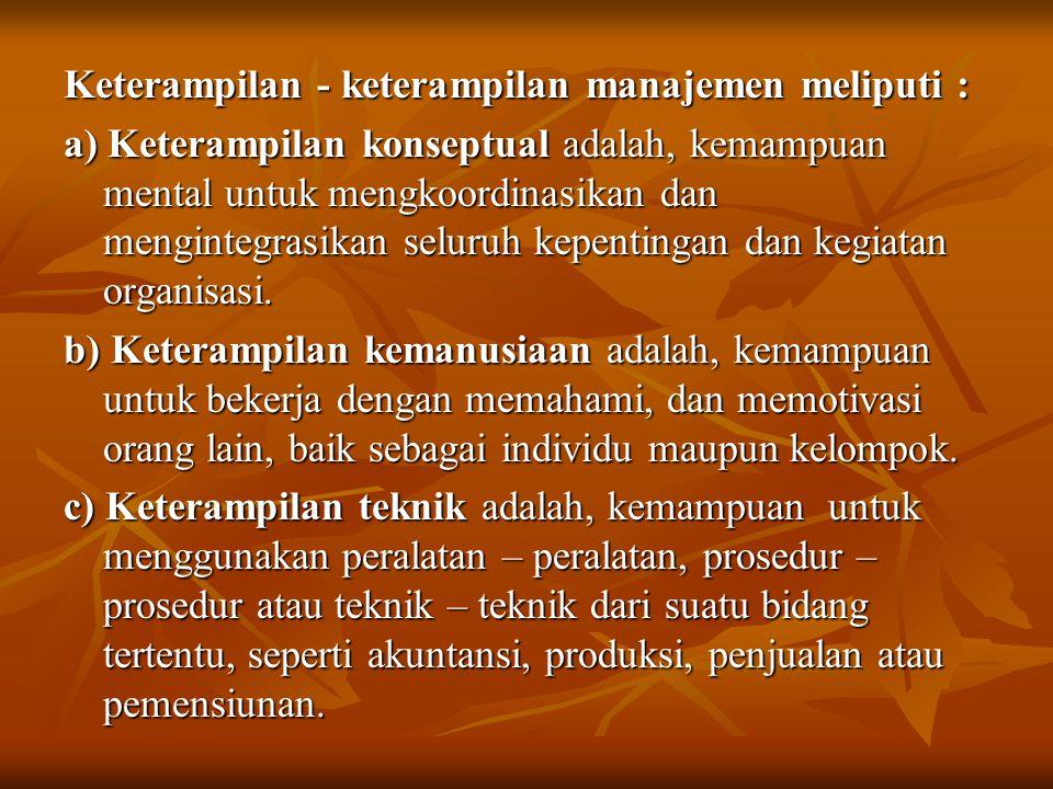 Keterampilan - keterampilan manajemen meliputi : a) Keterampilan konseptual adalah, kemampuan mental untuk mengkoordinasikan dan mengintegrasikan selu