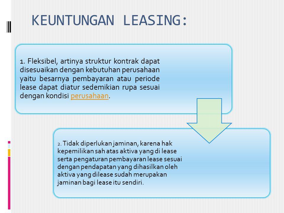 KEUNTUNGAN LEASING: 1. Fleksibel, artinya struktur kontrak dapat disesuaikan dengan kebutuhan perusahaan yaitu besarnya pembayaran atau periode lease