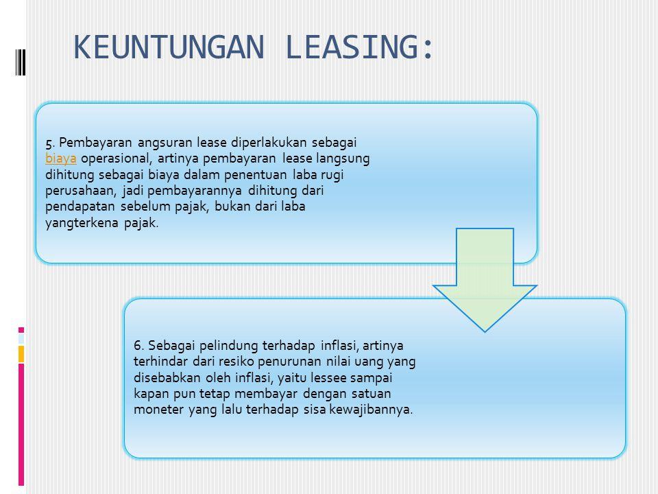 KEUNTUNGAN LEASING: 5. Pembayaran angsuran lease diperlakukan sebagai biaya operasional, artinya pembayaran lease langsung dihitung sebagai biaya dala