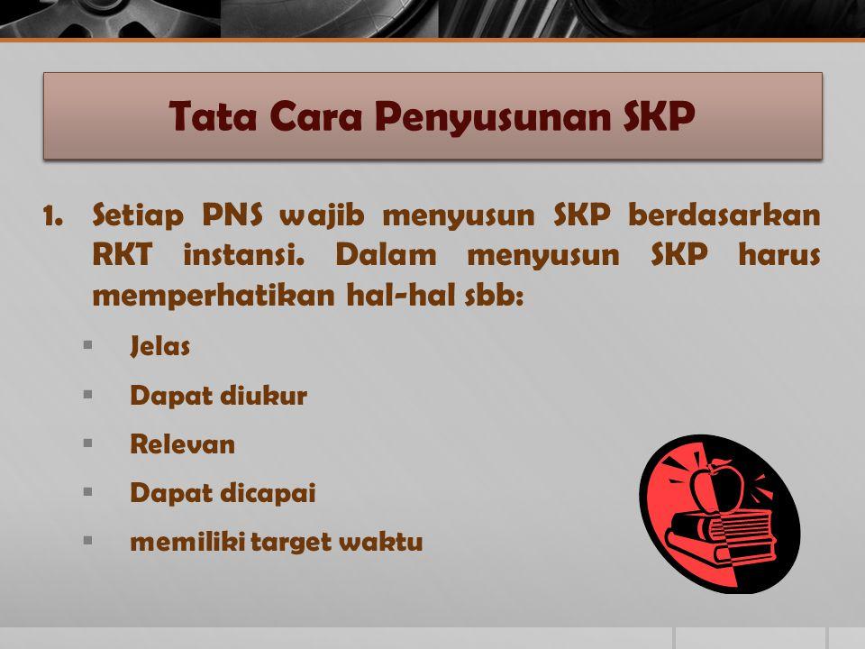 Tata Cara Penyusunan SKP 1.Setiap PNS wajib menyusun SKP berdasarkan RKT instansi. Dalam menyusun SKP harus memperhatikan hal-hal sbb:  Jelas  Dapat
