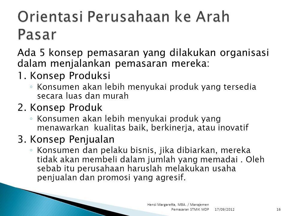 Ada 5 konsep pemasaran yang dilakukan organisasi dalam menjalankan pemasaran mereka: 1. Konsep Produksi ◦ Konsumen akan lebih menyukai produk yang ter