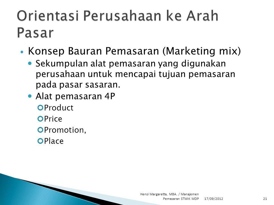 Konsep Bauran Pemasaran (Marketing mix) Sekumpulan alat pemasaran yang digunakan perusahaan untuk mencapai tujuan pemasaran pada pasar sasaran. Alat p