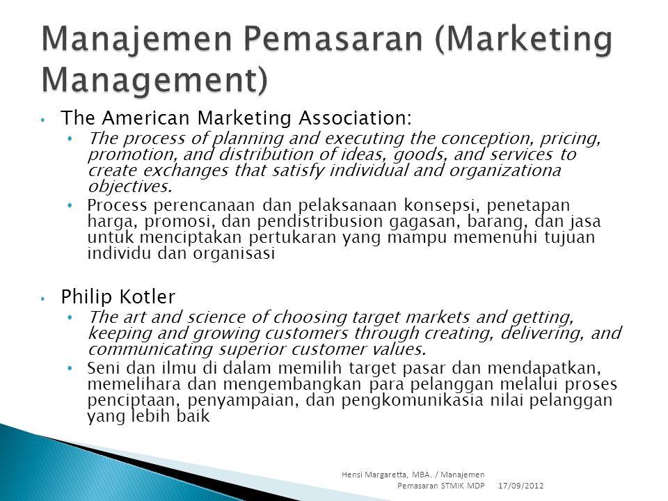  Barang  Jasa  Pengayaan pengalaman  Peristiwa  Orang  Tempat  Kepemilikan/properti  Organisasi  Informasi  Gagasan 17/09/2012 Hensi Margaretta, MBA.
