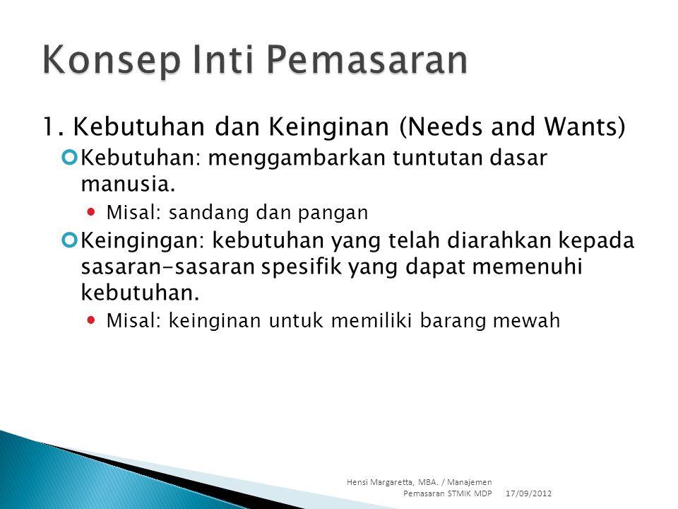 1. Kebutuhan dan Keinginan (Needs and Wants) Kebutuhan: menggambarkan tuntutan dasar manusia. Misal: sandang dan pangan Keingingan: kebutuhan yang tel