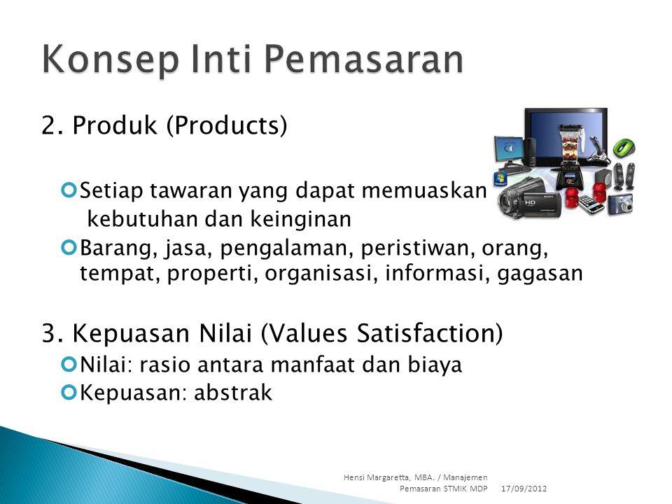 2. Produk (Products) Setiap tawaran yang dapat memuaskan kebutuhan dan keinginan Barang, jasa, pengalaman, peristiwan, orang, tempat, properti, organi
