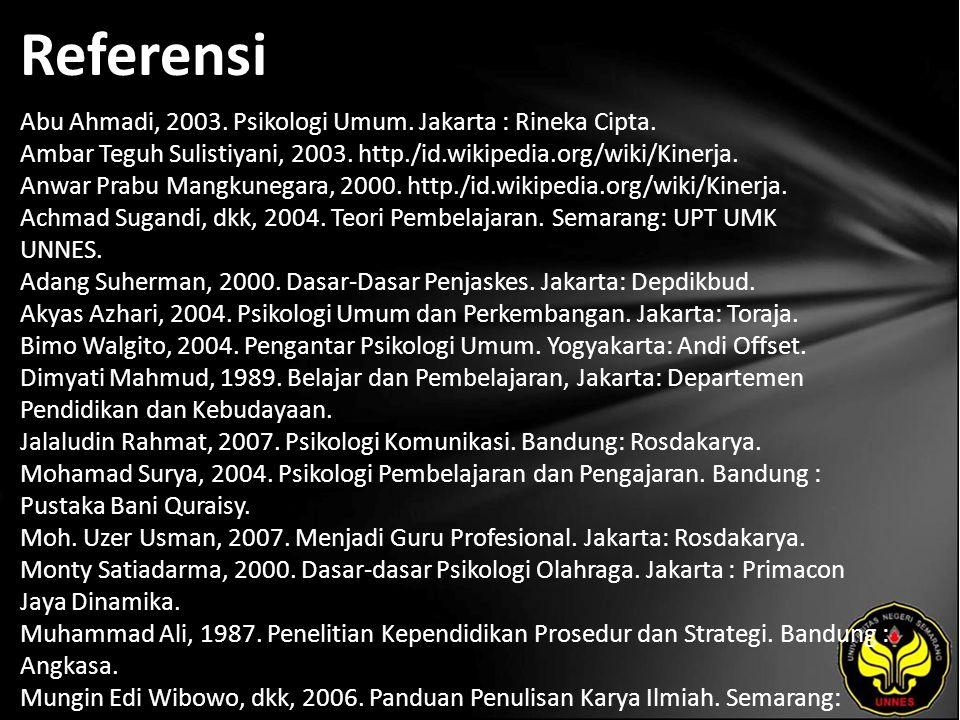 Referensi Abu Ahmadi, 2003. Psikologi Umum. Jakarta : Rineka Cipta.