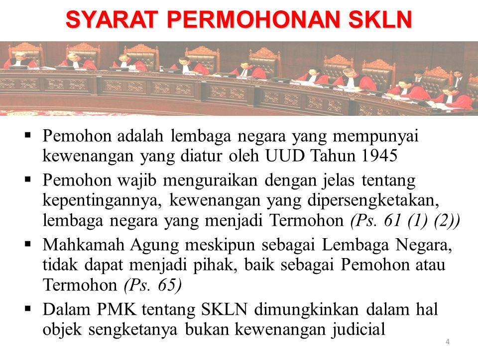 SYARAT PERMOHONAN SKLN  Pemohon adalah lembaga negara yang mempunyai kewenangan yang diatur oleh UUD Tahun 1945  Pemohon wajib menguraikan dengan je