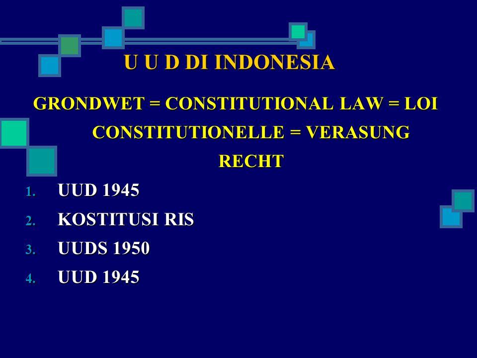 U U D DI INDONESIA GRONDWET = CONSTITUTIONAL LAW = LOI CONSTITUTIONELLE = VERASUNG RECHT 1.
