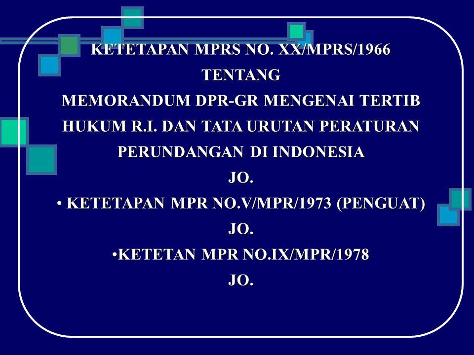 KETETAPAN MPRS NO.XX/MPRS/1966 TENTANG MEMORANDUM DPR-GR MENGENAI TERTIB HUKUM R.I.