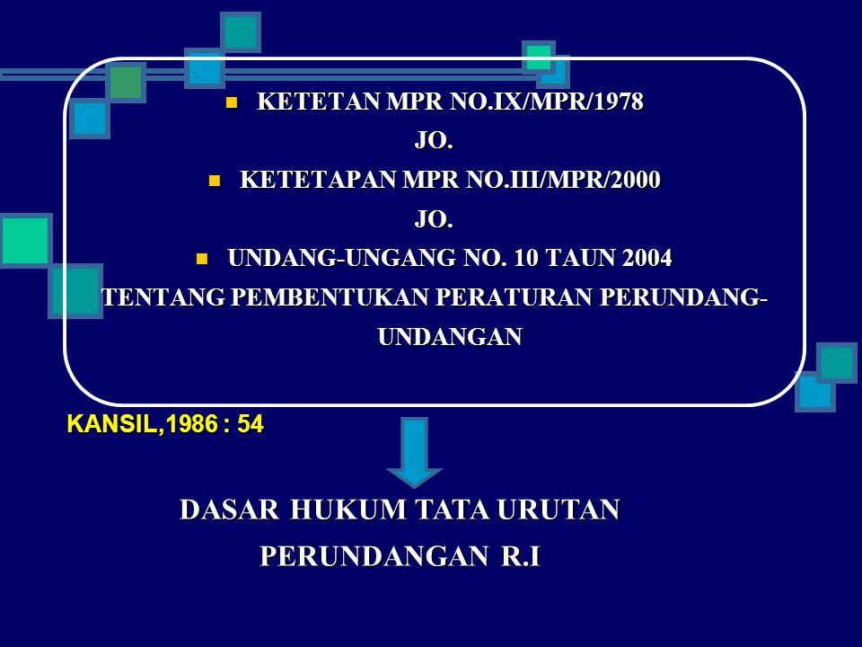 TATA URUTAN PERUNDANG UNDANGAN (UNDA-USUK = HIERARCHIE = STUFENBAU DES RECHETS) DI INDONESIA 1.UUD 1945 2.UNDANG-UNDANG/PPP.UU 3.PERATURAN PEMERINTAH 4.PERATURAN PRESIDEN 5.