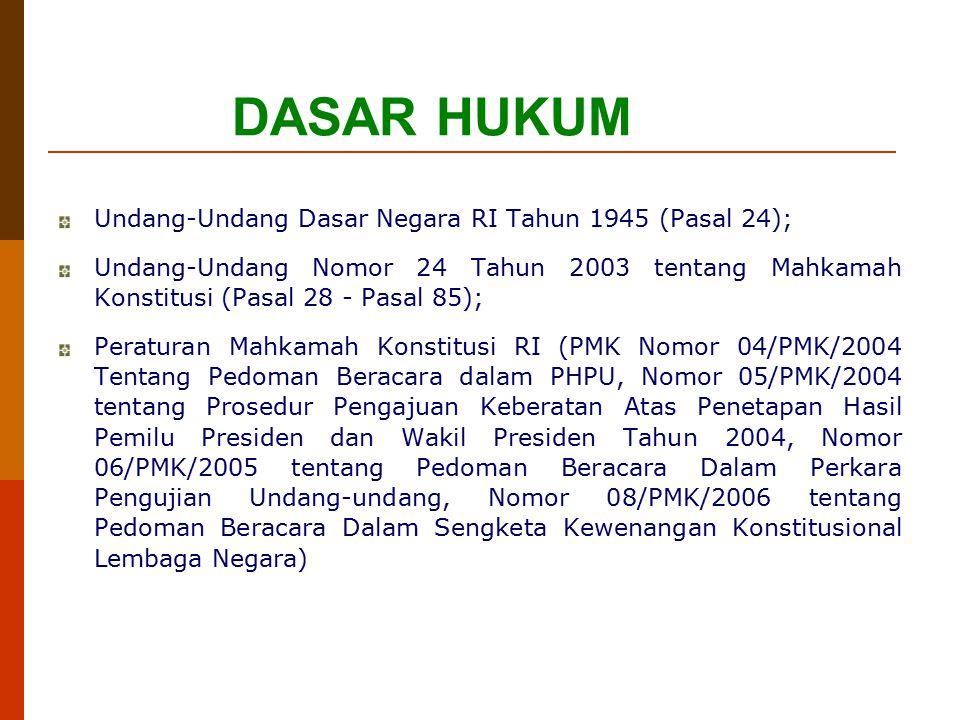 DASAR HUKUM Undang-Undang Dasar Negara RI Tahun 1945 (Pasal 24); Undang-Undang Nomor 24 Tahun 2003 tentang Mahkamah Konstitusi (Pasal 28 - Pasal 85);