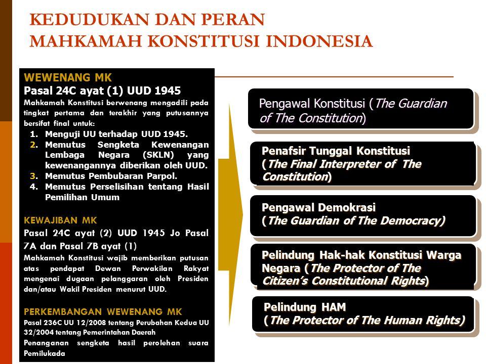 WEWENANG MK Pasal 24C ayat (1) UUD 1945 Mahkamah Konstitusi berwenang mengadili pada tingkat pertama dan terakhir yang putusannya bersifat final untuk