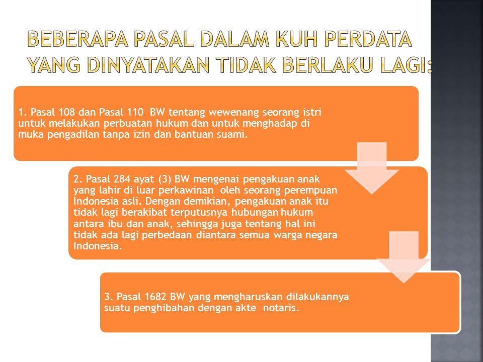 1. Pasal 108 dan Pasal 110 BW tentang wewenang seorang istri untuk melakukan perbuatan hukum dan untuk menghadap di muka pengadilan tanpa izin dan ban