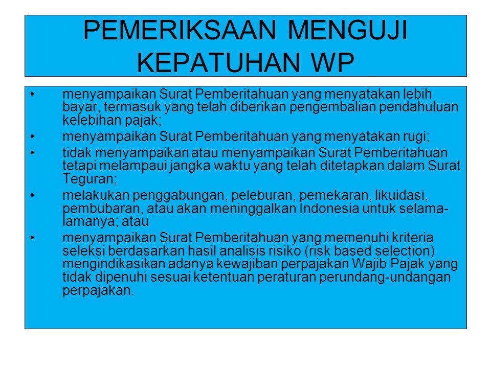 PEMERIKSAAN MENGUJI KEPATUHAN WP menyampaikan Surat Pemberitahuan yang menyatakan lebih bayar, termasuk yang telah diberikan pengembalian pendahuluan