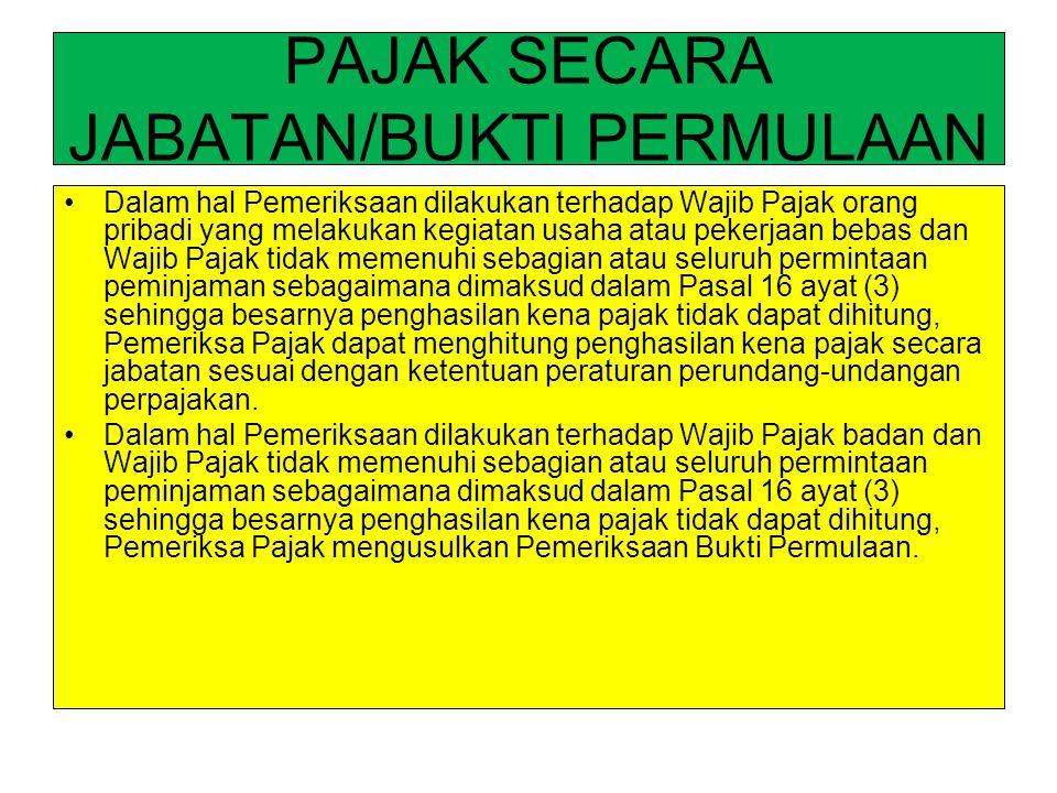PAJAK SECARA JABATAN/BUKTI PERMULAAN Dalam hal Pemeriksaan dilakukan terhadap Wajib Pajak orang pribadi yang melakukan kegiatan usaha atau pekerjaan b