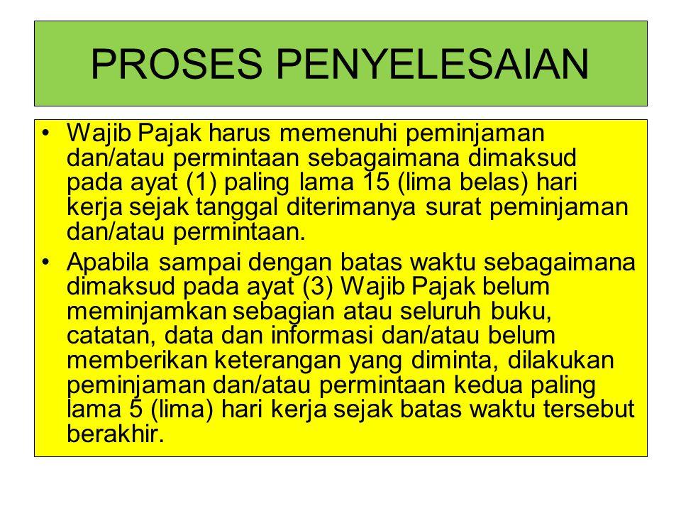 PROSES PENYELESAIAN Wajib Pajak harus memenuhi peminjaman dan/atau permintaan sebagaimana dimaksud pada ayat (1) paling lama 15 (lima belas) hari kerj