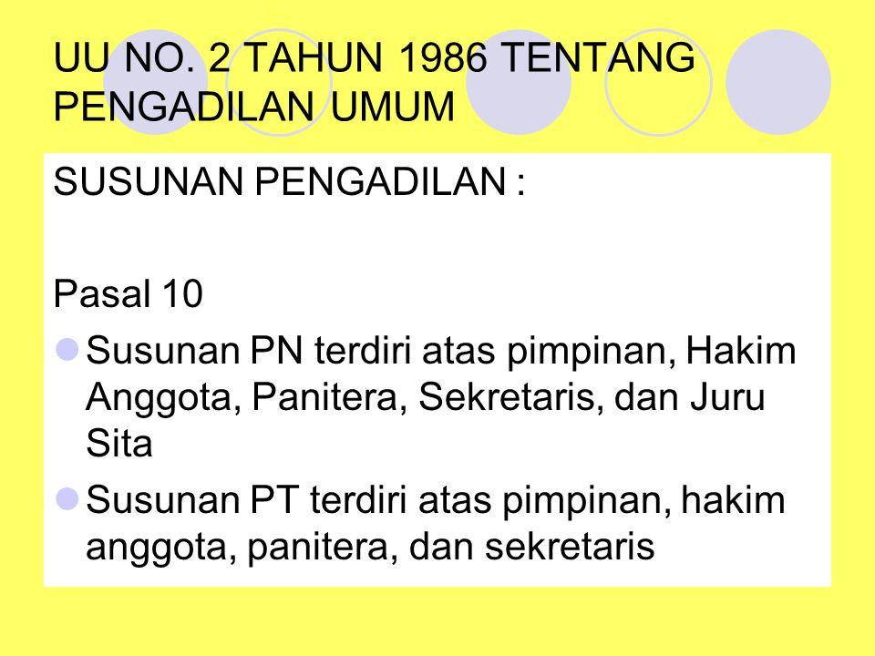 UU NO. 2 TAHUN 1986 TENTANG PENGADILAN UMUM SUSUNAN PENGADILAN : Pasal 10 Susunan PN terdiri atas pimpinan, Hakim Anggota, Panitera, Sekretaris, dan J