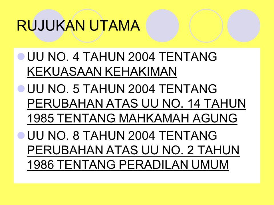 RUJUKAN UTAMA UU NO. 4 TAHUN 2004 TENTANG KEKUASAAN KEHAKIMAN UU NO. 5 TAHUN 2004 TENTANG PERUBAHAN ATAS UU NO. 14 TAHUN 1985 TENTANG MAHKAMAH AGUNG U