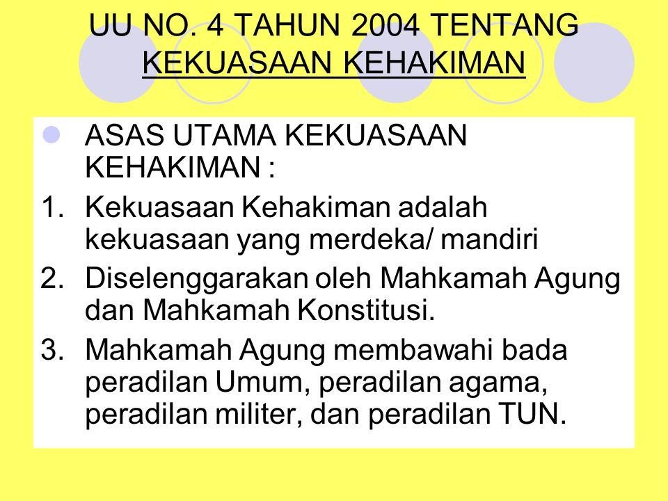UU NO. 4 TAHUN 2004 TENTANG KEKUASAAN KEHAKIMAN ASAS UTAMA KEKUASAAN KEHAKIMAN : 1.Kekuasaan Kehakiman adalah kekuasaan yang merdeka/ mandiri 2.Disele