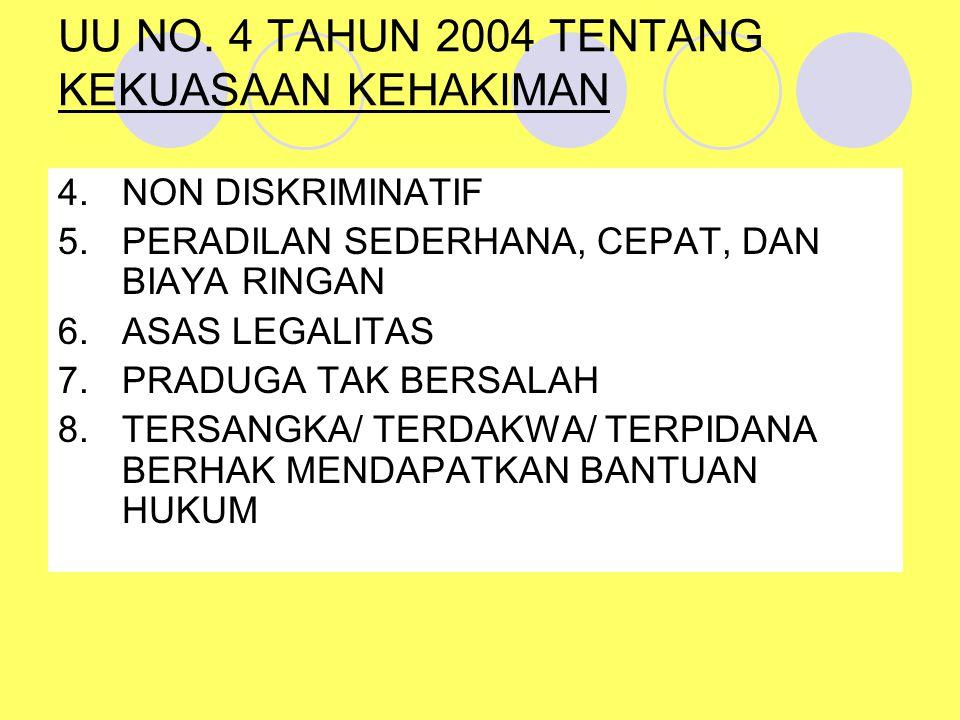 UU NO. 4 TAHUN 2004 TENTANG KEKUASAAN KEHAKIMAN 4.NON DISKRIMINATIF 5.PERADILAN SEDERHANA, CEPAT, DAN BIAYA RINGAN 6.ASAS LEGALITAS 7.PRADUGA TAK BERS