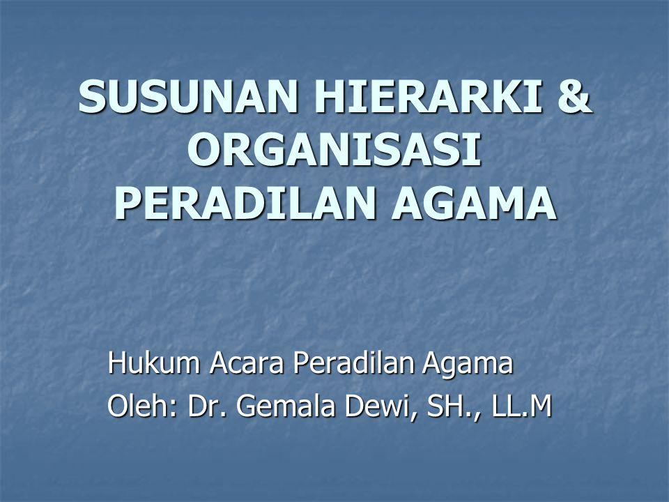 SUSUNAN HIERARKI & ORGANISASI PERADILAN AGAMA Hukum Acara Peradilan Agama Oleh: Dr. Gemala Dewi, SH., LL.M