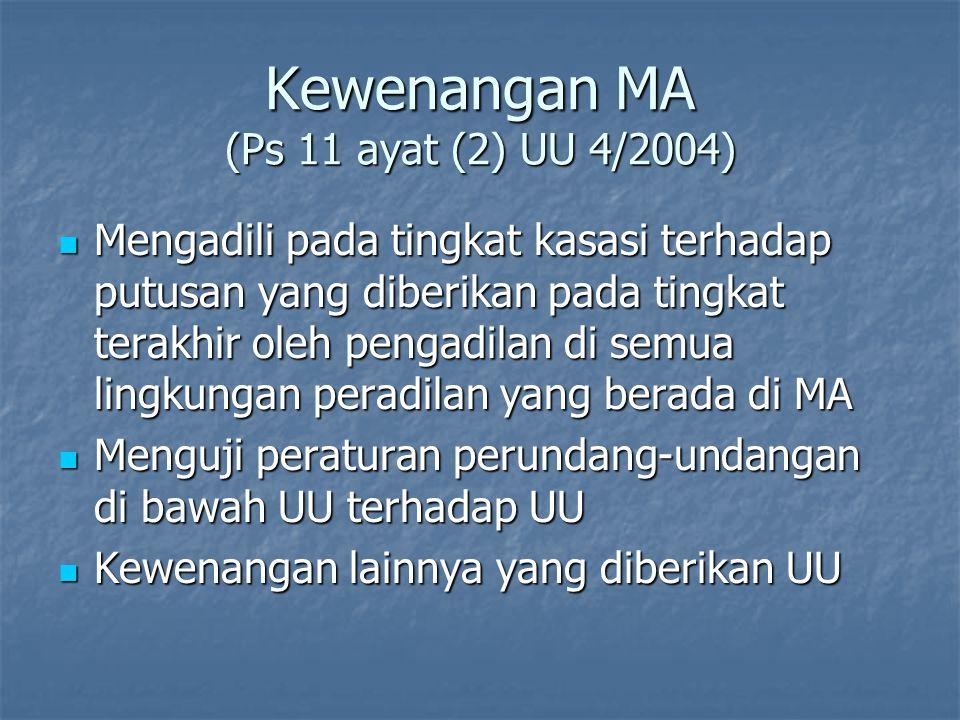 Kewenangan MA (Ps 11 ayat (2) UU 4/2004) Mengadili pada tingkat kasasi terhadap putusan yang diberikan pada tingkat terakhir oleh pengadilan di semua