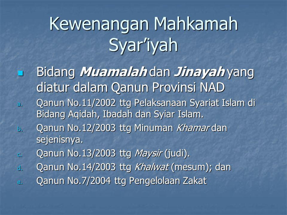 Kewenangan Mahkamah Syar'iyah Bidang Muamalah dan Jinayah yang diatur dalam Qanun Provinsi NAD Bidang Muamalah dan Jinayah yang diatur dalam Qanun Pro