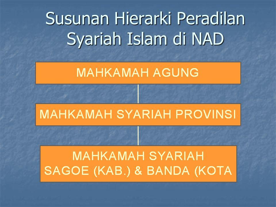 Susunan Hierarki Peradilan Syariah Islam di NAD