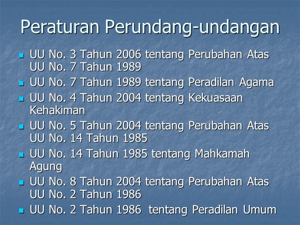 Peraturan Perundang-undangan UU No. 3 Tahun 2006 tentang Perubahan Atas UU No. 7 Tahun 1989 UU No. 3 Tahun 2006 tentang Perubahan Atas UU No. 7 Tahun