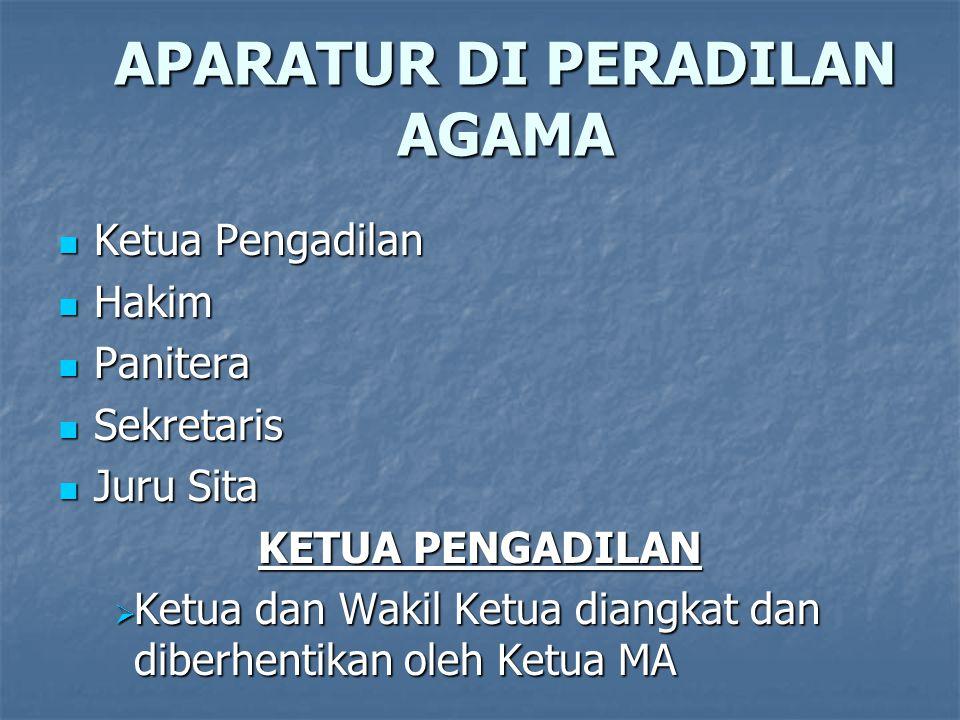 APARATUR DI PERADILAN AGAMA Ketua Pengadilan Ketua Pengadilan Hakim Hakim Panitera Panitera Sekretaris Sekretaris Juru Sita Juru Sita KETUA PENGADILAN